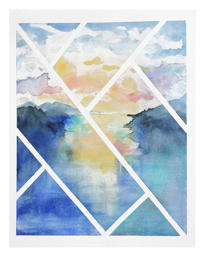 Original Contemporary Watercolor Painting - Lines Over Serene Lake