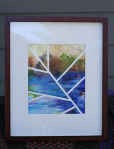 "Original contemporary watercolor painting, 8x10, abstract landscape - ""Lines Over Cool Blue"""