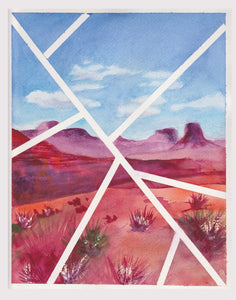 "Original contemporary watercolor painting, 8x10 landscape - ""Lines Over Monument Valley"""