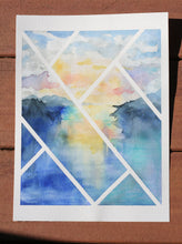 Load image into Gallery viewer, Original Contemporary Watercolor Painting - Lines Over Serene Lake