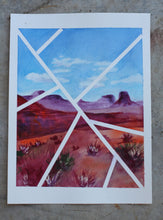 "Load image into Gallery viewer, Original contemporary watercolor painting, 8x10 landscape - ""Lines Over Monument Valley"""