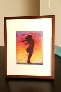 Original Watercolor Painting,  8x10, Woman Silhouette