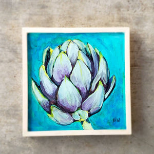 Artichoke painting, tiny, 6x6 inches, framed panel