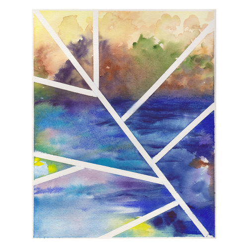 Original contemporary watercolor painting, 8x10, abstract landscape -