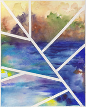 "Load image into Gallery viewer, Original contemporary watercolor painting, 8x10, abstract landscape - ""Lines Over Cool Blue"""