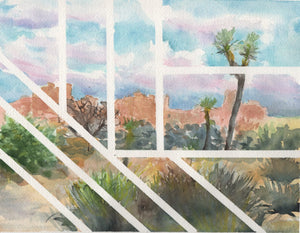 "Original contemporary landscape painting, ""Joshua Tree Lines"", 8x10 inches"