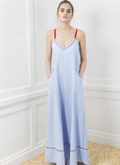 one o eight embroidered maxi dress blue