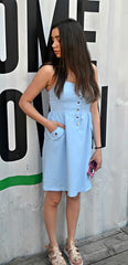 button up denim style dress