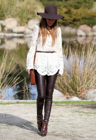 WHITE LACE AND LEATHER LEGGINGS BUY STYLE