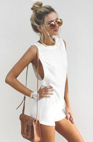 WHITE PLAYSUIT FESTIVAL COACHELLA STYLE STREET SUMMER GUIDE