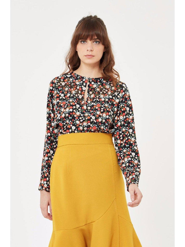 Long Sleeve Floral Blouse-Top-Leggsington