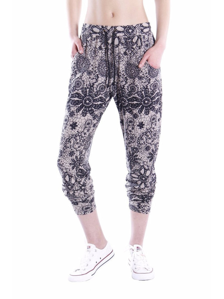 Floral Print Soft Jersey Joggers in Black