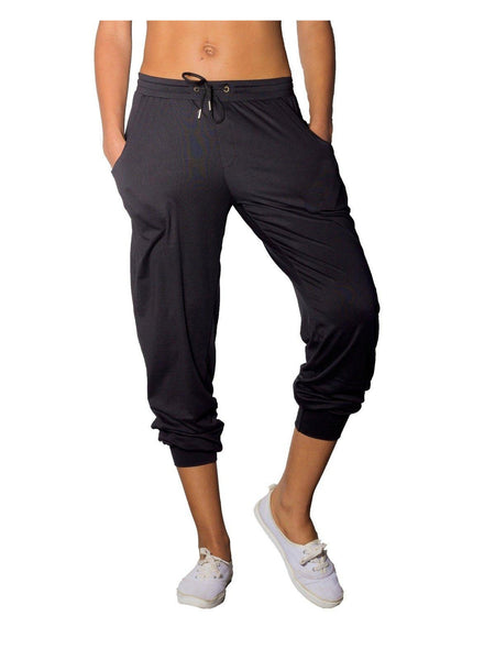 Sarah Brushed Soft Jersey Joggers in Black-jogger-Leggsington