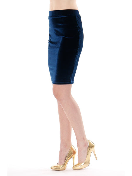 Rosa Velvet Skirt in Dark Blue