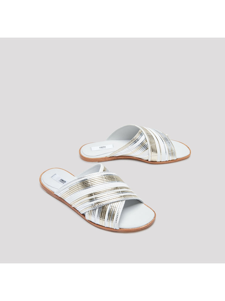 Miista - DEB SILVER RATTAN SANDALS-Shoes-Leggsington