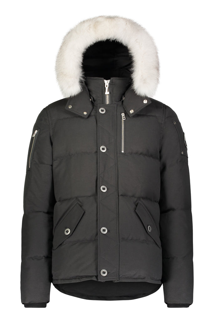 Moose Knuckles Mens 3Q Jacket in Black with Natural Fox Fur