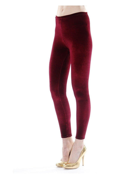 Rosa - Berry Velvet Leggings-Leggings-Leggsington