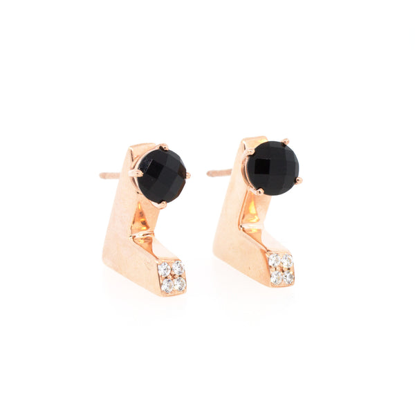 Deco Rose Gold & Onyx Ear Jackets