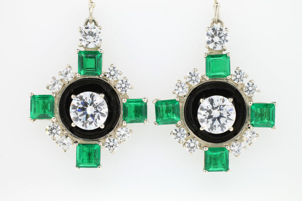 Green Quartz and Enamel Art Deco Earrings - Lanie Lynn  - 2