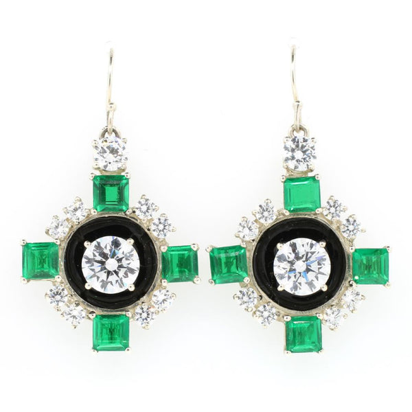 Green Quartz and Enamel Art Deco Earrings - Lanie Lynn  - 1