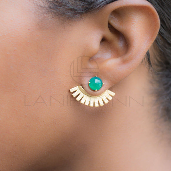 Green Onyx Ear Jackets - Lanie Lynn  - 3