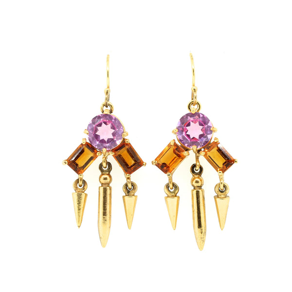 Citrine and Pink Quartz Dangling Earrings - Lanie Lynn