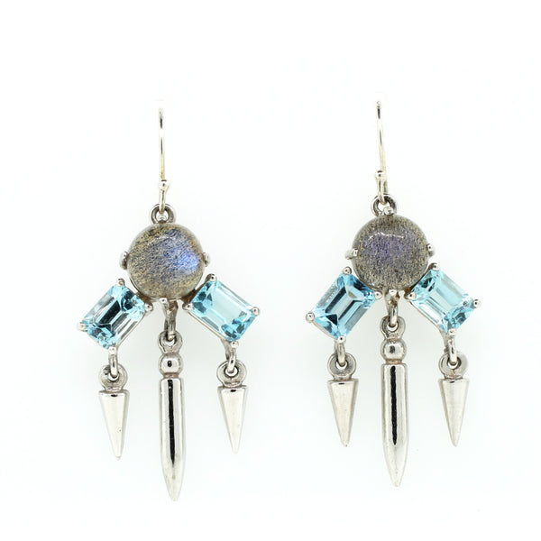 Topaz and Labradorite Silver Earrings - Lanie Lynn