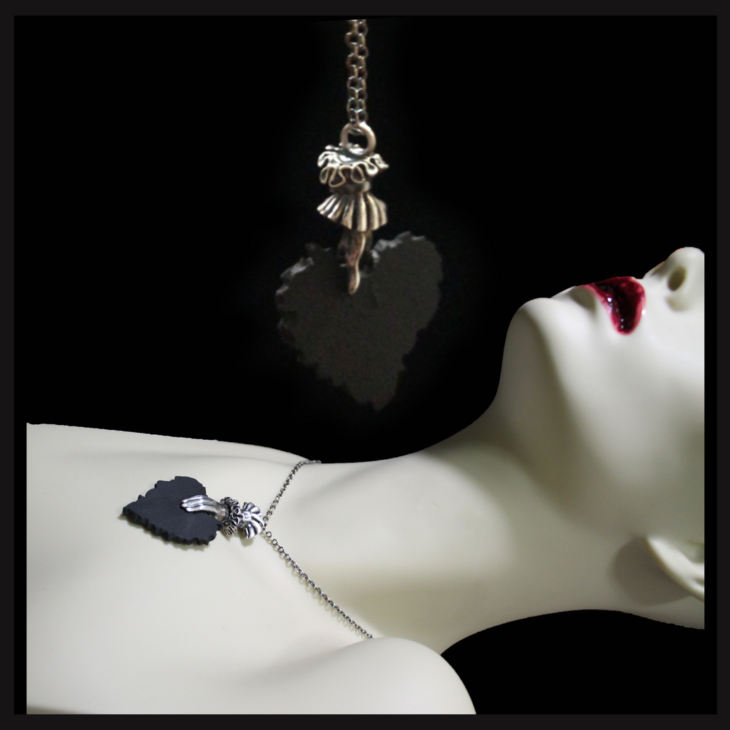 Tattered Heart in Hand ~ necklace (silver) - Laura Flook