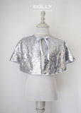 Sequined Capelet - Silver - le faire - Le Petit Tom - 3