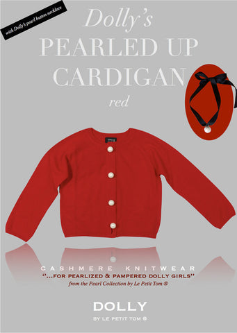 Pearled Up Cardigan - Cashmere - red - le faire - Le Petit Tom - 1