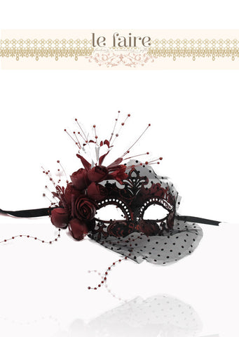 Red Mask with Flowers - le faire - --------