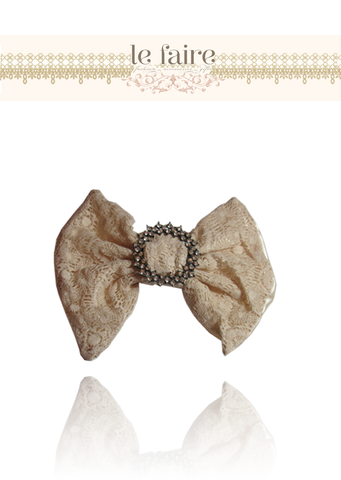 Peach Diamante Bow - le faire - Carnival Designs