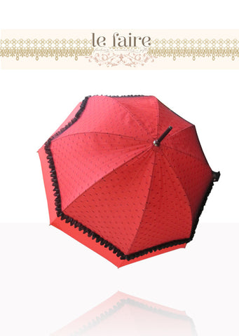 French Parasol - Red & Black Net - le faire - -------- - 1