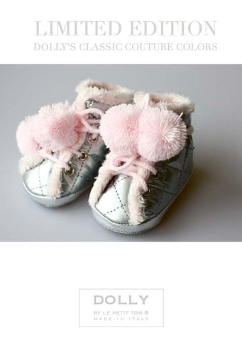 Shoes - Baby Boots - silver with pink - le faire - Le Petit Tom - 1