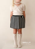 Pearled Houndstooth Skirt - black & white - le faire - Le Petit Tom - 3