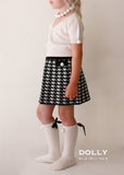 Pearled Houndstooth Skirt - black & white - le faire - Le Petit Tom - 4
