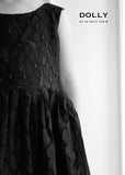 Lace Dress Flowers - black - le faire - Le Petit Tom - 2