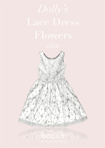 Lace Dress Flowers - white - le faire - Le Petit Tom - 1
