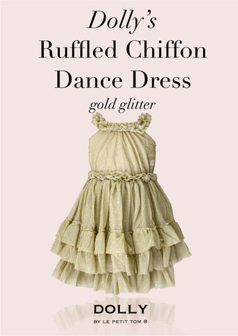 Ruffled Chiffon Dance Dress - gold glitter - le faire - Le Petit Tom - 1