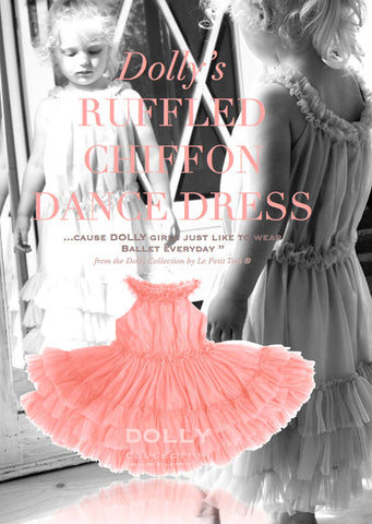 Ruffled Chiffon Dance Dress - coral - le faire - Le Petit Tom - 1