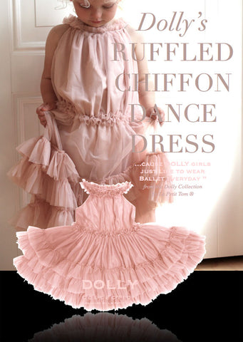 Ruffled Chiffon Dance Dress - ballet pink - le faire - Le Petit Tom - 1
