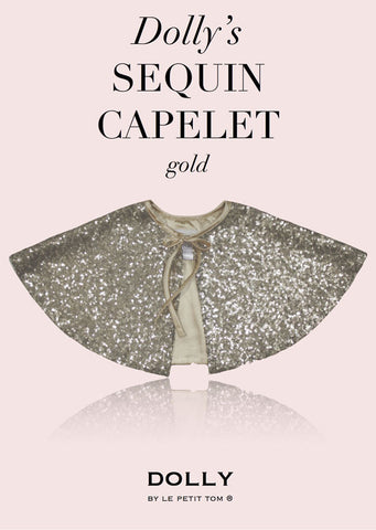 Sequined Capelet - Gold - le faire - Le Petit Tom - 1