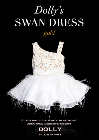 The Swan Dress - white/gold - le faire - Le Petit Tom - 1