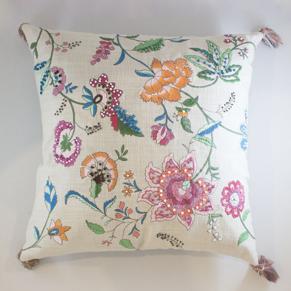 Embroidered Chintz Cushion Cover