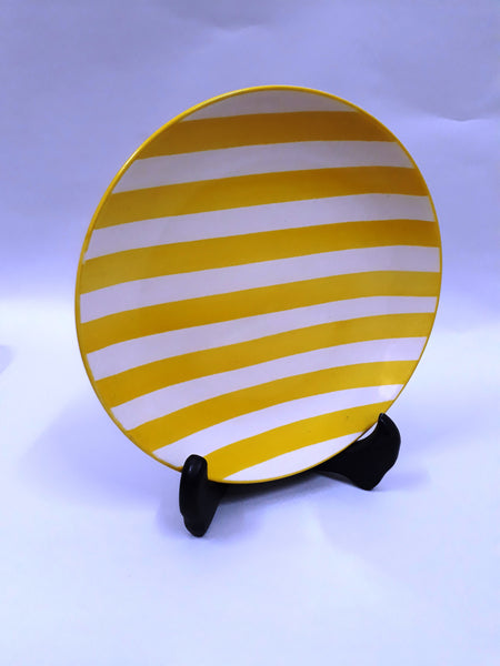 Stripey Quarter Plate - Yellow