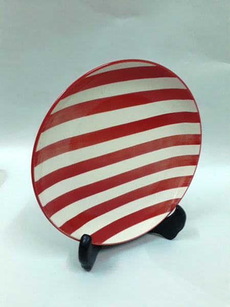 Stripey Quarter Plate - Red