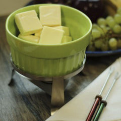 Ceramic Fondue Pot with Tea light holder and 4 Skewers