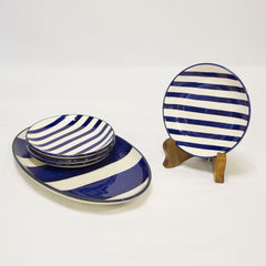 Summer Striped Appetizer Set - Blue