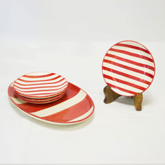 Summer Striped Appetizer Set - Red