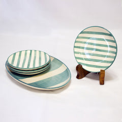 Summer Striped Appetizer Set - Teal